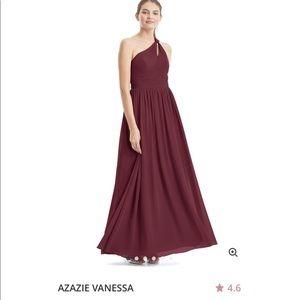 Azazie Vanessa long bridesmaid dress in Cabernet